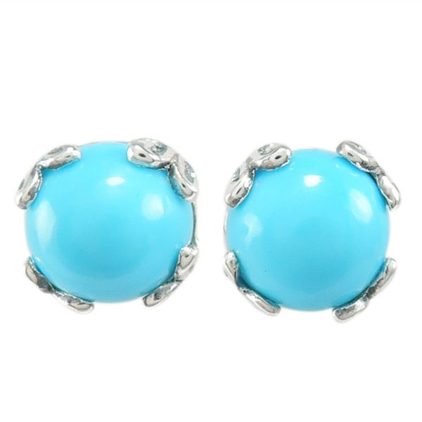 Samuel B. Sterling Silver Stud Earrings each featuring Round Turquoise Mitchell's Jewelry Norman, OK