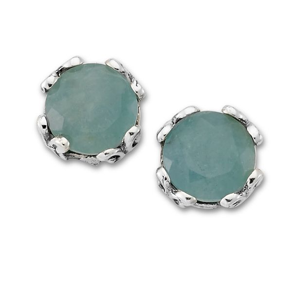 Samuel B. Sterling Silver Stud Earrings each featuring a Round Aquamarine Mitchell's Jewelry Norman, OK