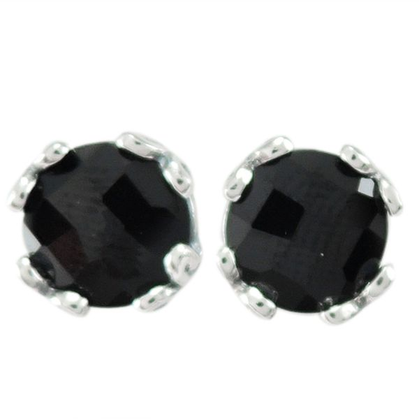 Samuel B. Sterling Silver Stud Earrings each featuring a round Sapphire Mitchell's Jewelry Norman, OK