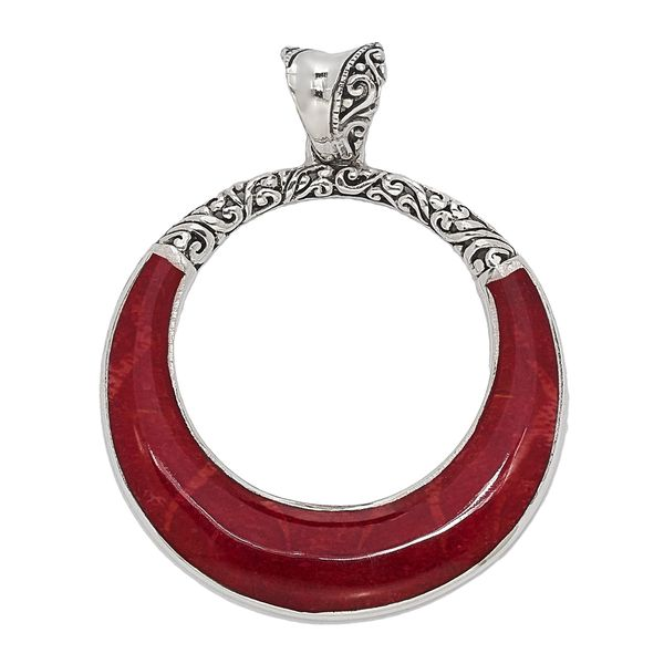 Samuel B. Sterling Silver Coral O Pendant (chain not included) Mitchell's Jewelry Norman, OK