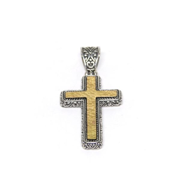 Samuel B. Sterling Silver and 18-Karat Yellow Gold Hammered Cross Pendant (chain not included) Mitchell's Jewelry Norman, OK
