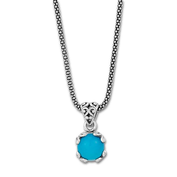 Samuel B. Sterling Silver Necklace featuring a Round Turquoise Mitchell's Jewelry Norman, OK