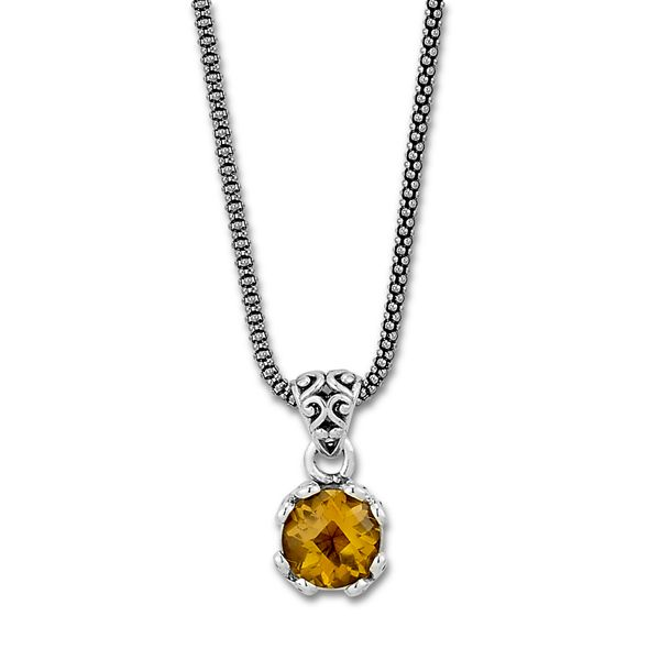 Samuel B. Sterling Silver Necklace featuring a Round Citrine Mitchell's Jewelry Norman, OK