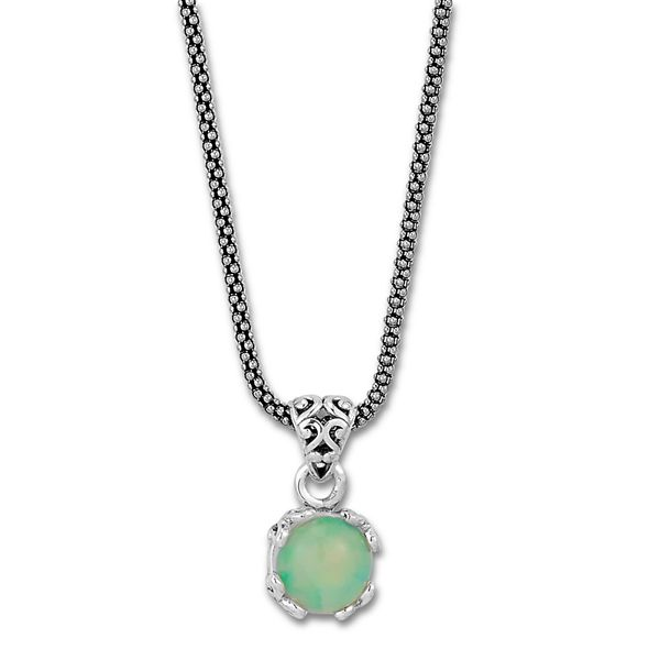 Samuel B. Sterling Silver Necklace featuring a Round Opal Mitchell's Jewelry Norman, OK