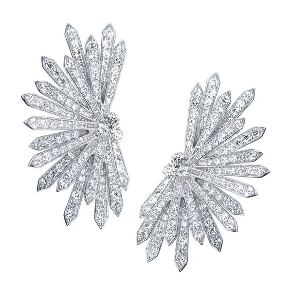 White Gold Snow Flake Earrings Mollys Jewelers Brooklyn, NY
