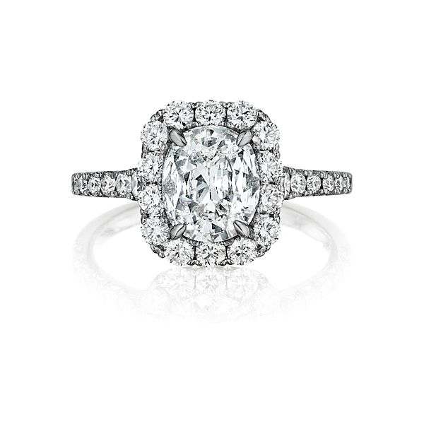 18K White Gold Cushion Halo Diamond Engagement Ring Moore Jewelers Laredo, TX