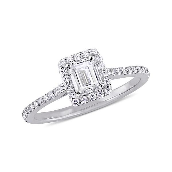 14K White Gold Emerald Halo Diamond Engagement Ring Moore Jewelers Laredo, TX