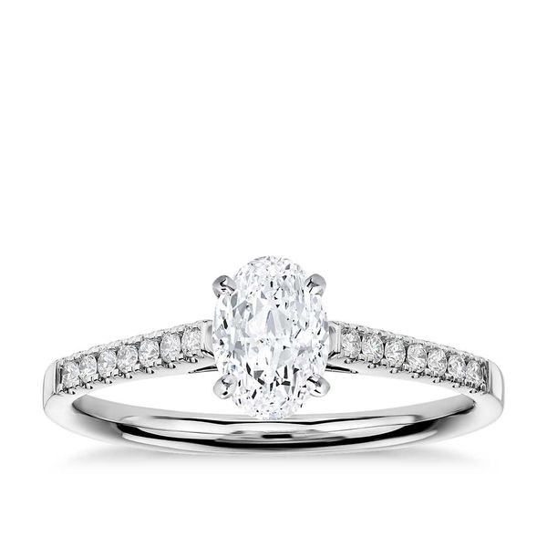 14K White Oval Solitaire Diamond Engagement Ring Moore Jewelers Laredo, TX