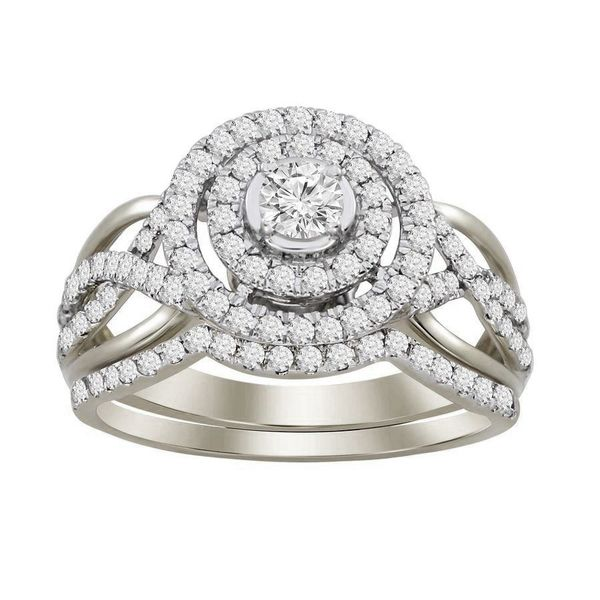 14K White Gold Double Round Halo Engagement Ring Moore Jewelers Laredo, TX
