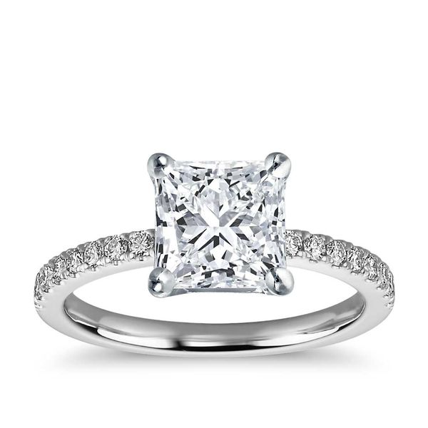 14K White Gold Princess Traditional Diamond Engagement Ring Moore Jewelers Laredo, TX