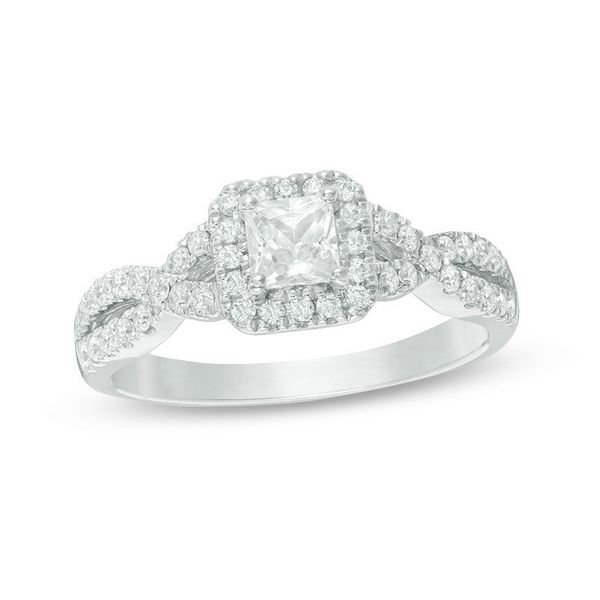 Lady's White 14 Karat Halo Engagement Ring With One 0.44Ct Princess Diamond Moore Jewelers Laredo, TX