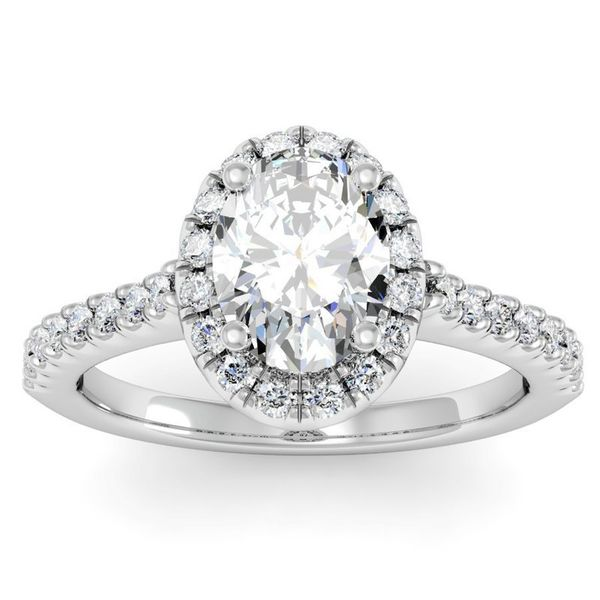 14K White Gold Oval Halo Diamond Engagement Ring Moore Jewelers Laredo, TX