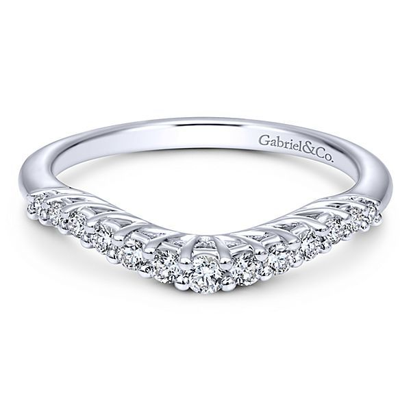 14K White Gold Half Anniversary Curved Diamond Wedding Band Moore Jewelers Laredo, TX