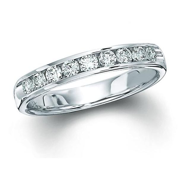 14K White Gold Channel Set Wedding Band Moore Jewelers Laredo, TX