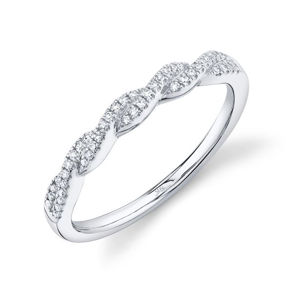 14K White Gold Twist Diamond Half Anniversary Band Moore Jewelers Laredo, TX