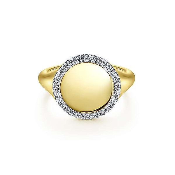 14K Yellow Gold Contemporary Signet Diamond Fashion Ring Moore Jewelers Laredo, TX