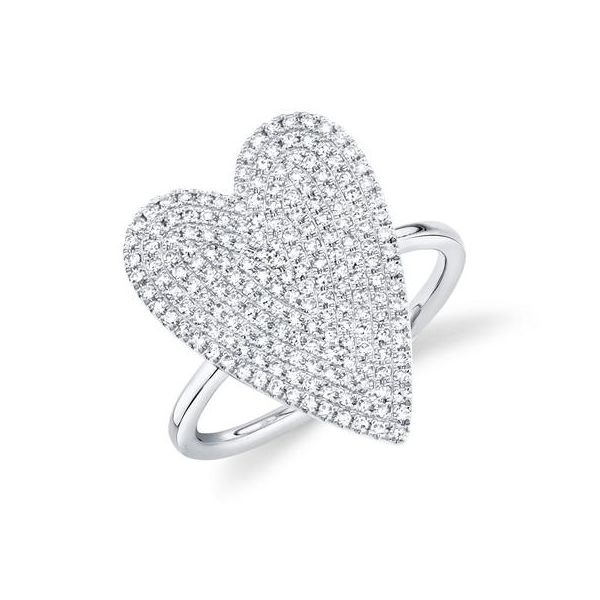 14K White Gold Heart Pave Fashion Ring Moore Jewelers Laredo, TX
