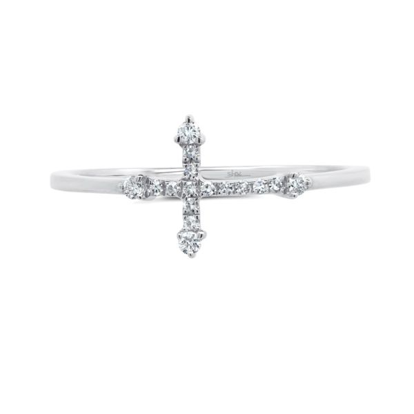 14K White Gold Cross Fashion Ring Image 2 Moore Jewelers Laredo, TX