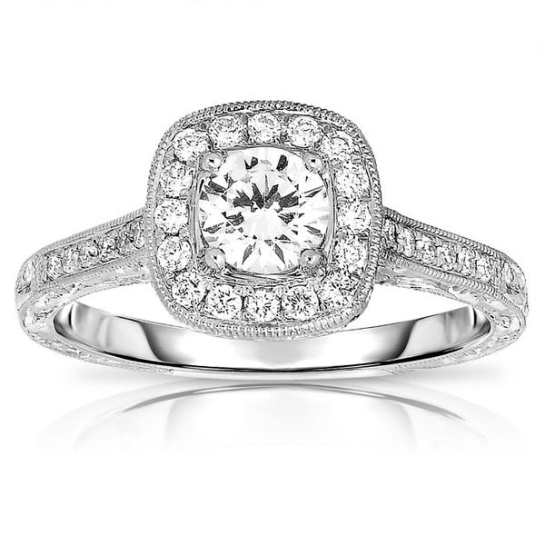 14 Karat Cushion Halo Semi-Mount Ring Moore Jewelers Laredo, TX