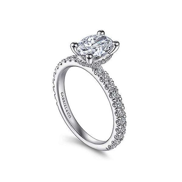 14K White Gold Hidden Halo Semi-Mount Ring Image 2 Moore Jewelers Laredo, TX