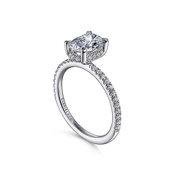 14K White Gold Halo Semi-Mount Ring Image 2 Moore Jewelers Laredo, TX
