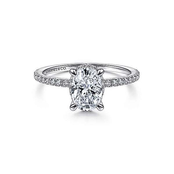 14K White Gold Halo Semi-Mount Ring Moore Jewelers Laredo, TX