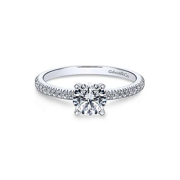 14K White Gold Tiffany Semi-Mount Ring Moore Jewelers Laredo, TX