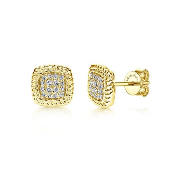 Lady's Yellow 14 Karat Button Diamond Earrings Moore Jewelers Laredo, TX