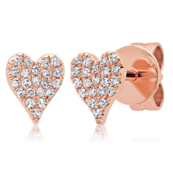 14K Rosé Gold Heart Stud Earrings Moore Jewelers Laredo, TX