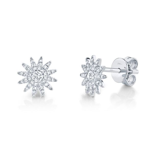 14K White Gold Starburst Button Earrings Moore Jewelers Laredo, TX
