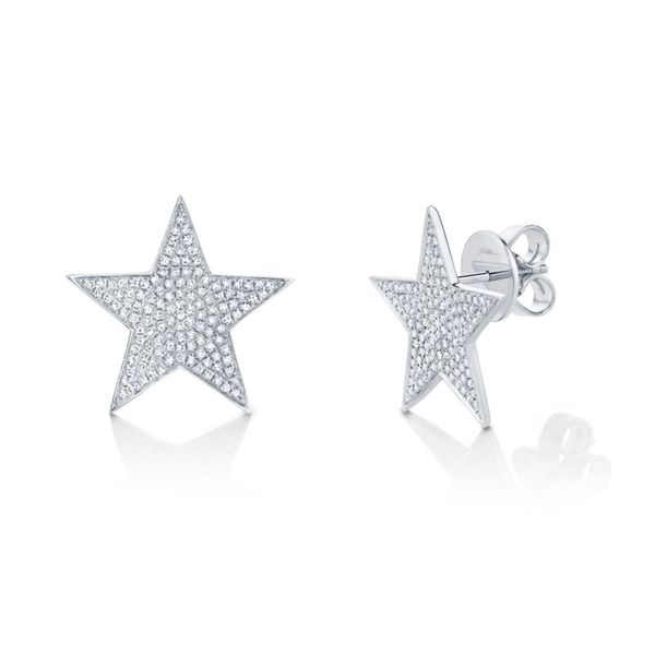 14K White Gold Diamond Star Button Earrings Moore Jewelers Laredo, TX