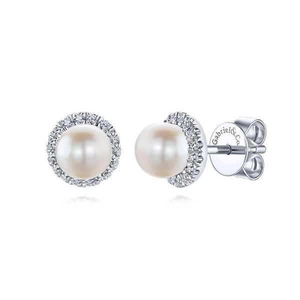 14K White Gold Pearl Diamond Halo Button Earrings Moore Jewelers Laredo, TX