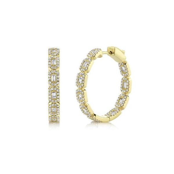 14K Yellow Gold Diamond Baguette Hoop Earrings Moore Jewelers Laredo, TX