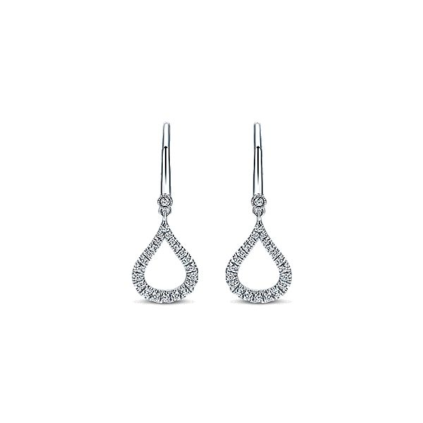 14K White Gold Dangle Diamonds Earrings Moore Jewelers Laredo, TX