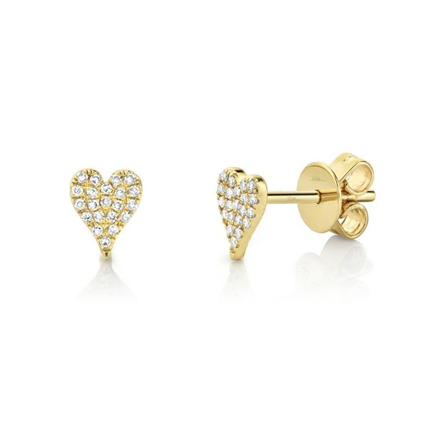14K Yellow Gold Button Heart Diamond Earrings Moore Jewelers Laredo, TX