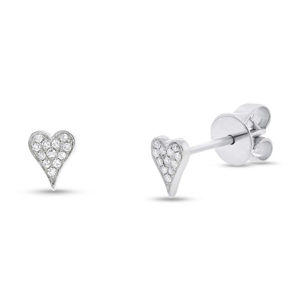 14K White Stud Pave Heart Earrings Moore Jewelers Laredo, TX