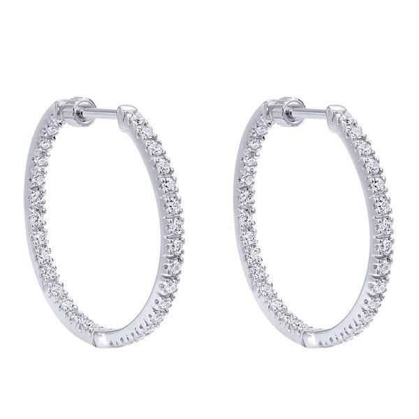 Lady's Inside Out Diamond Hoop Earrings Moore Jewelers Laredo, TX