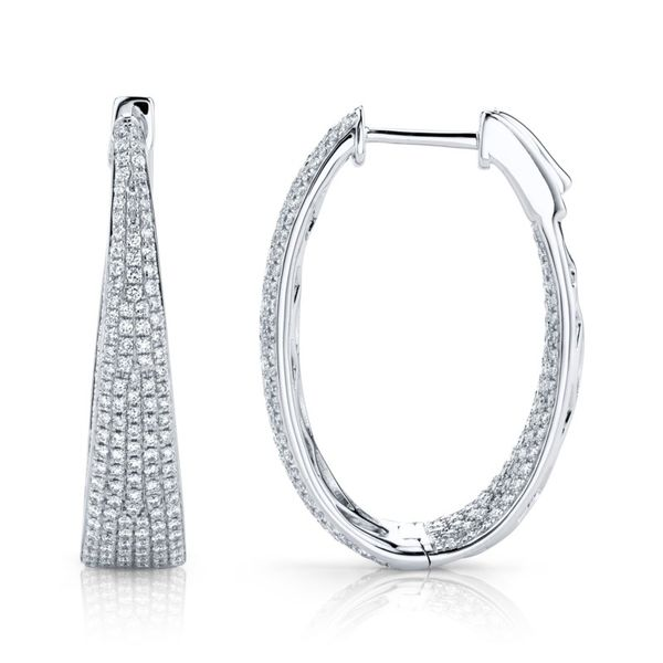 Lady's Diamond Oval Hoop Earrings Image 2 Moore Jewelers Laredo, TX
