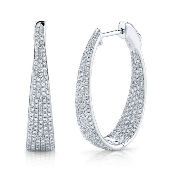 Lady's Diamond Oval Hoop Earrings Moore Jewelers Laredo, TX
