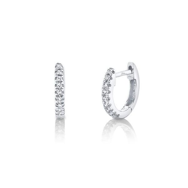 14K White Gold Diamond Huggie Earrings Moore Jewelers Laredo, TX