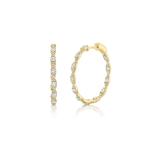 14K Yellow Gold Diamond Hoop Earrings Moore Jewelers Laredo, TX