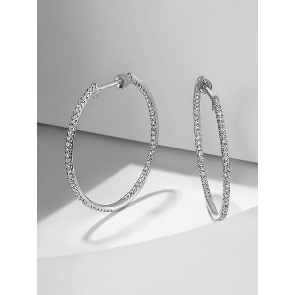 14K White Gold Diamond Hoop Earrings Moore Jewelers Laredo, TX