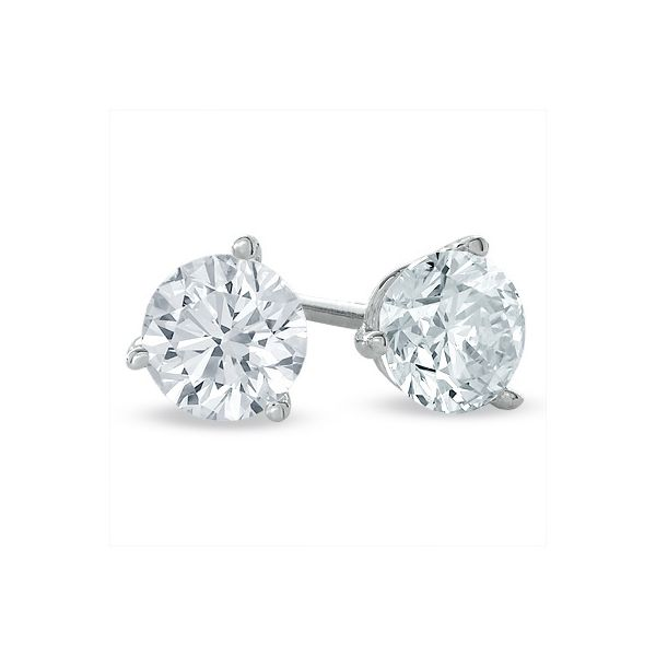 Diamond Stud Earrings With 2=4.00TW Round Cut Moore Jewelers Laredo, TX