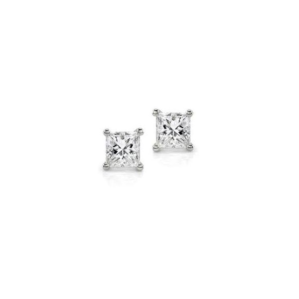 14K White Gold Princess Cut Diamond Studs Moore Jewelers Laredo, TX