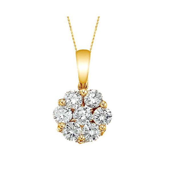 10K Yellow Gold Flower Cluster Diamond Pendant Necklace 0.50ctw Moore Jewelers Laredo, TX