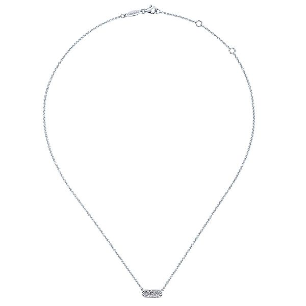 Lady's White 14 Karat Rectangular Diamond Bar Necklace Length 17.5 With 0.18Tw Round Diamonds Moore Jewelers Laredo, TX