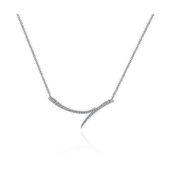 Lady's White 14 Karat Curved Doublet Bar Necklace Length 17.5 Moore Jewelers Laredo, TX