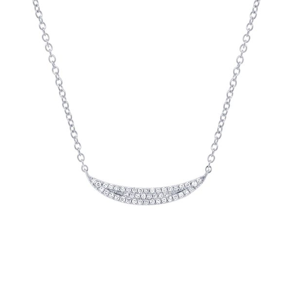 14K White Gold Pave Bar  Necklace Moore Jewelers Laredo, TX