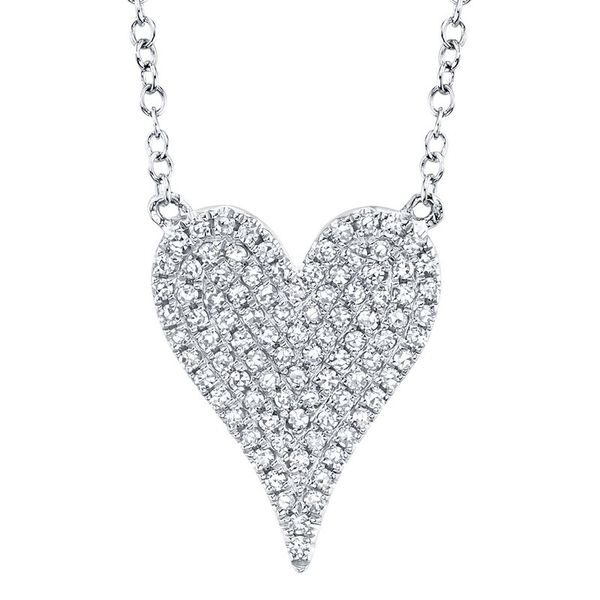14K White Gold Pave Heart Necklace Moore Jewelers Laredo, TX