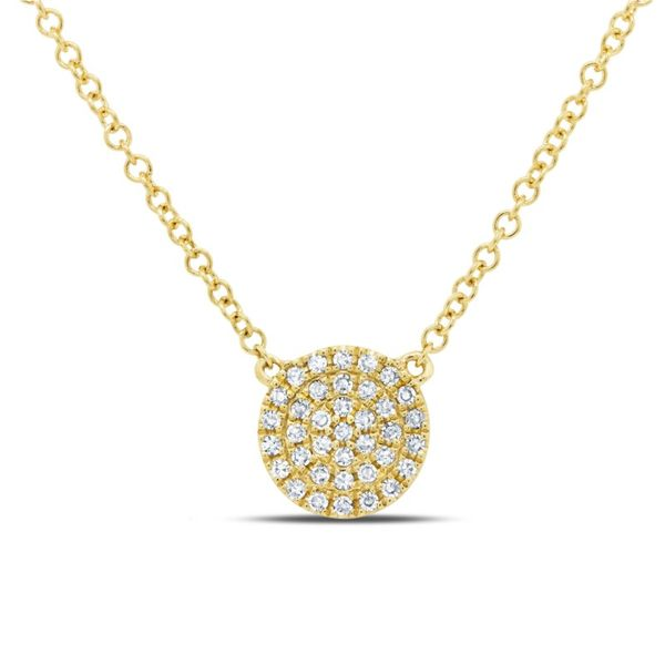 Lady's Yellow 14 Karat Pave Disk Necklace Moore Jewelers Laredo, TX